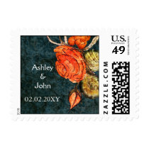Rustic Chic Aqua Vintage Rose Wedding Postage