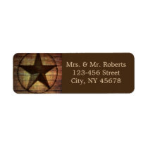 rustic chic barn wood texas star western wedding label