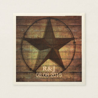rustic chic barn wood texas star western wedding napkin