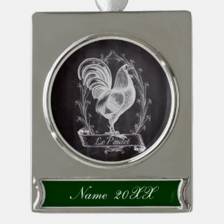 rustic chic blackboard french country rooster silver plated banner ornament