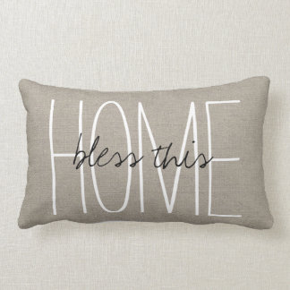 Rustic Chic Bless This Home Lumbar Pillow