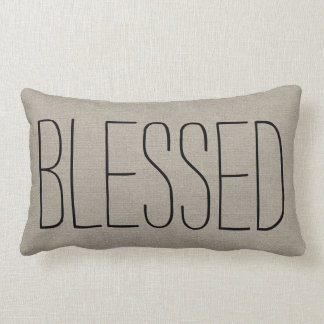 Rustic Chic Blessed Lumbar Pillow