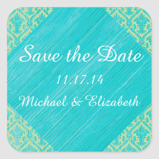 Rustic Chic: Blue Faux Wood and Green Lace Damask Square Sticker