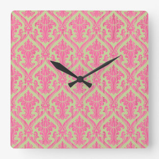 Rustic Chic: Blue Faux Wood and Green Lace Damask Square Wall Clock