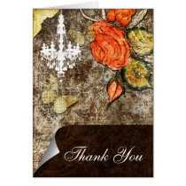 Rustic Chic Brown Vintage Rose Wedding Card