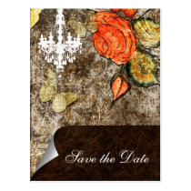 Rustic Chic Brown Vintage Rose Wedding Postcard