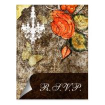 Rustic Chic Brown Vintage Rose Wedding Postcard