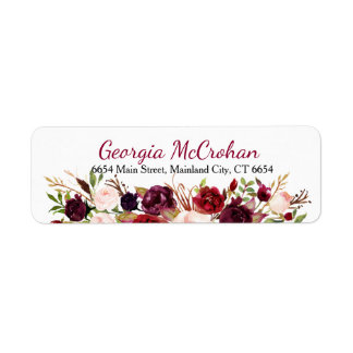 Rustic Chic Burgundy Marsala  Return Address Label