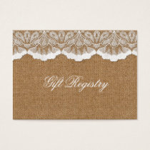 Rustic Chic burlap and lace country wedding Business Card