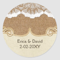 Rustic Chic burlap and lace country wedding Classic Round Sticker