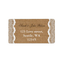 Rustic Chic burlap and lace country wedding Label