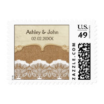 Rustic Chic burlap and lace country wedding Postage