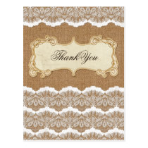 Rustic Chic burlap and lace country wedding Postcard