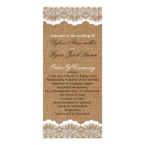 Rustic Chic burlap and lace country wedding Rack Card