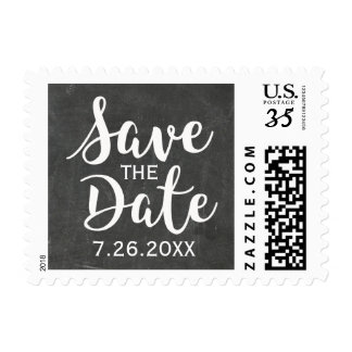Rustic Chic Chalkboard Save the Date Postcard Postage