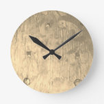 Rustic Chic Cool Metallic Brass-toned Minimal Round Clock