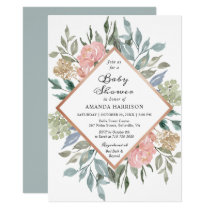 Rustic Chic Dusty Pink Blue Floral Baby Shower Card