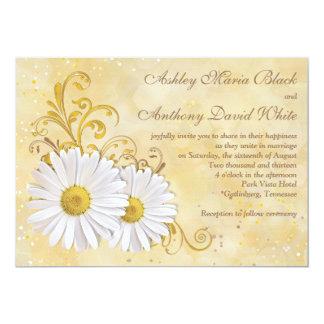 Rustic Chic Elegant Shasta Daisy Wedding 5x7 Paper Invitation Card