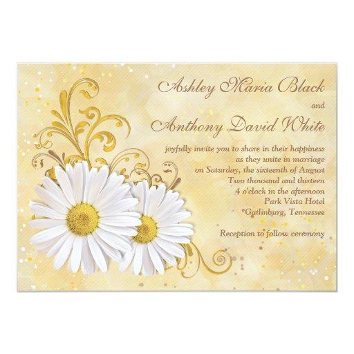 "Rustic Chic Elegant Shasta Daisy Wedding 5"" X 7"" Invitation Card"