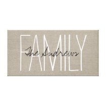 Rustic Chic Family Monogram Canvas Print