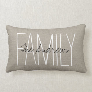 Rustic Chic Family Monogram Lumbar Pillow at Zazzle