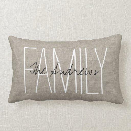 Rustic Chic Family Monogram Throw Pillows