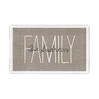 Rustic Chic Family Monogram Serving Tray