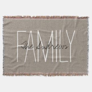 Rustic Chic Family Monogram Throw