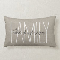 Rustic Chic Family Monogram Throw Pillows