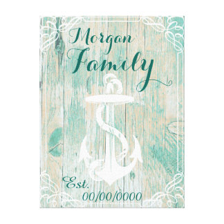 rustic chic family name,family est. canvas print