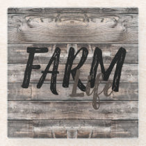 rustic chic FARM LIFE in script Glass Coaster