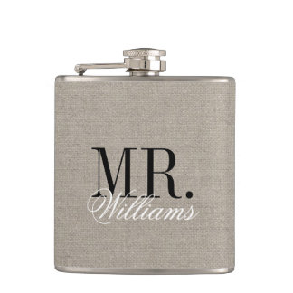 Rustic Chic Faux Burlap Mr. and Mrs. Monogram Hip Flask