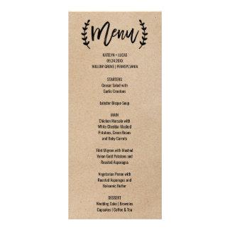 Rustic Chic Faux Kraft Calligraphy Menu Card