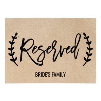 "Rustic Chic Faux Kraft Calligraphy ""Reserved"" Sign Card"