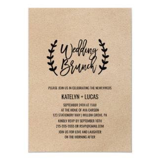 Rustic Chic Faux Kraft Calligraphy Wedding Brunch Card