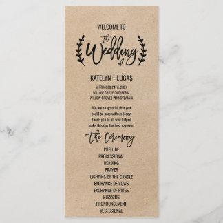 Rustic Chic Faux Kraft Calligraphy Wedding Program