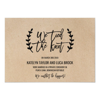 Rustic Chic Faux Kraft Elopement Announcement