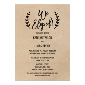Rustic Chic Faux Kraft Elopement Reception Card