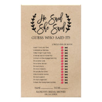 "Rustic Chic Faux Kraft ""He Said She Said"" Game Flyer"