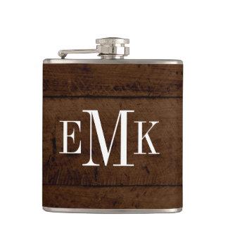 Rustic Chic Faux Wood Classic Monogram Hip Flask