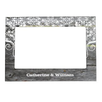 Rustic Chic Fence Custom Wedding Photo Magnetic Picture Frames