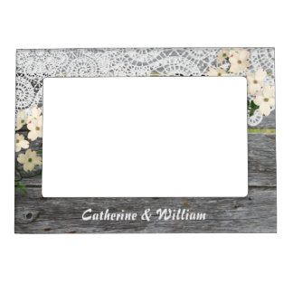 Rustic Chic Fence with Lace Custom Wedding Photo Magnetic Picture Frame