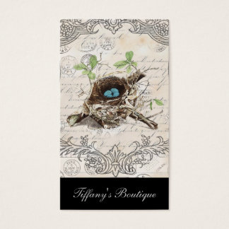 rustic chic french country botanical bird nest business card