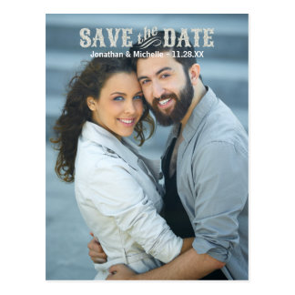 Rustic Chic | Glitter-Look Photo Save the Date Postcard