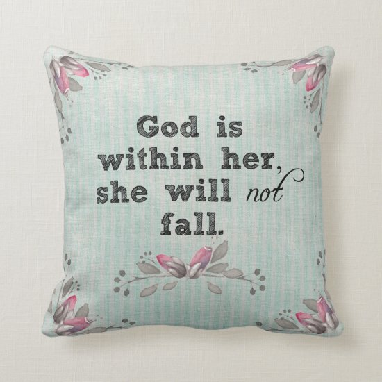Rustic Chic: God is Within Her Bible Verse Throw Pillow