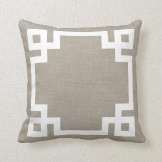 Rustic Chic Greek Key Border Throw Pillow
