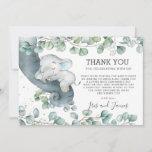 Rustic Chic Greenery Elephant Baby Shower Boy Thank You Card