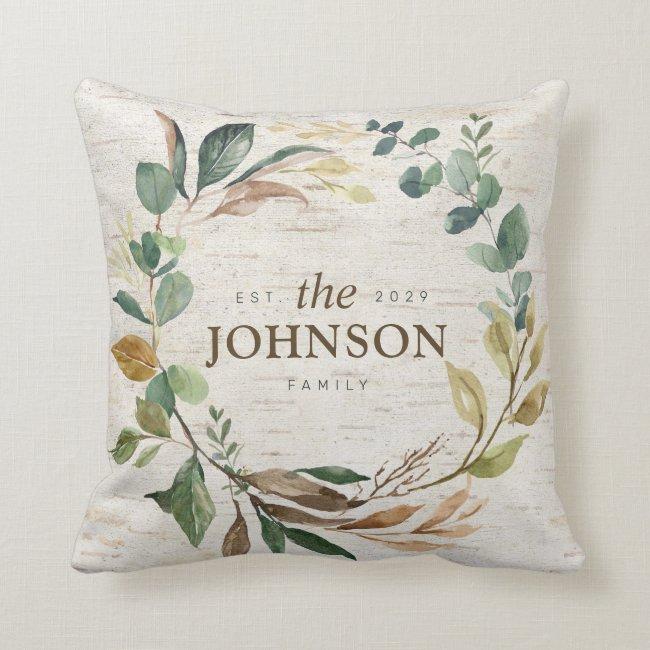 Rustic Chic Greenery Wreath Family Est. Monogram Throw Pillow