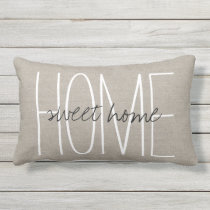 Rustic Chic Home Sweet Home Outdoor Pillow