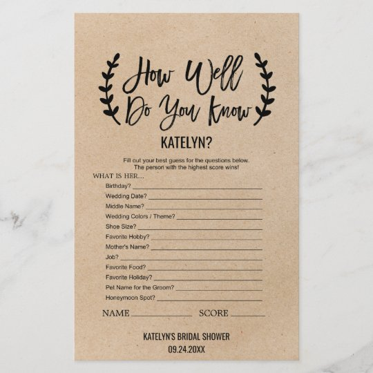 Rustic Chic How Well Do You Know The Bride Game